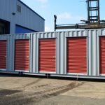 Storage Container with Six Roll Up Doors